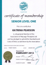 Association of Massage Therapists - Certificate of Membership