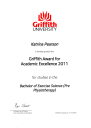 Griffith Award for Academic Excellence 2011